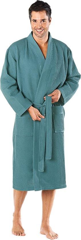 Wafel badjas voor sauna petrol XXL - unisex
