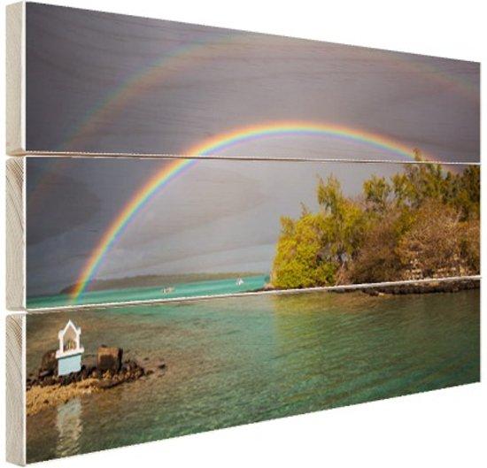 Regenbogen over meer Hout 80x60 cm - Foto print op Hout (Wanddecoratie)