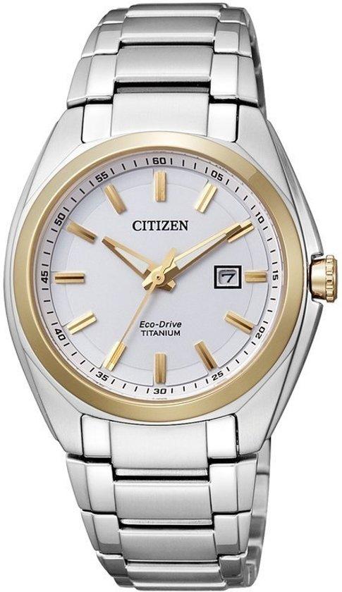 Citizen Super Titanium - Horloge - Titanium - 34 mm - Bicolor / Wit - Solar uurwerk