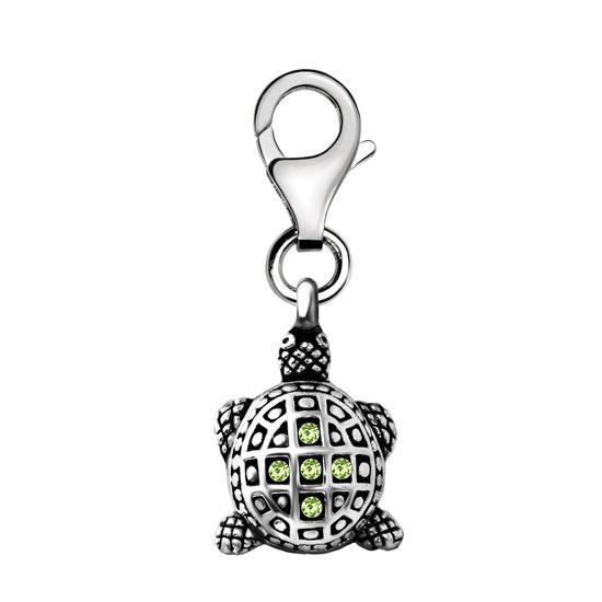 Quiges - Charm Bedel Hanger 3D Schildpad met Zirkonia Groen - Dames - zilverkleurig - QHC176