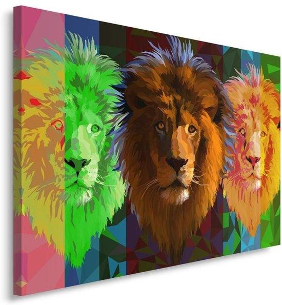 Schilderij - Drie leeuwen in verschillende kleuren