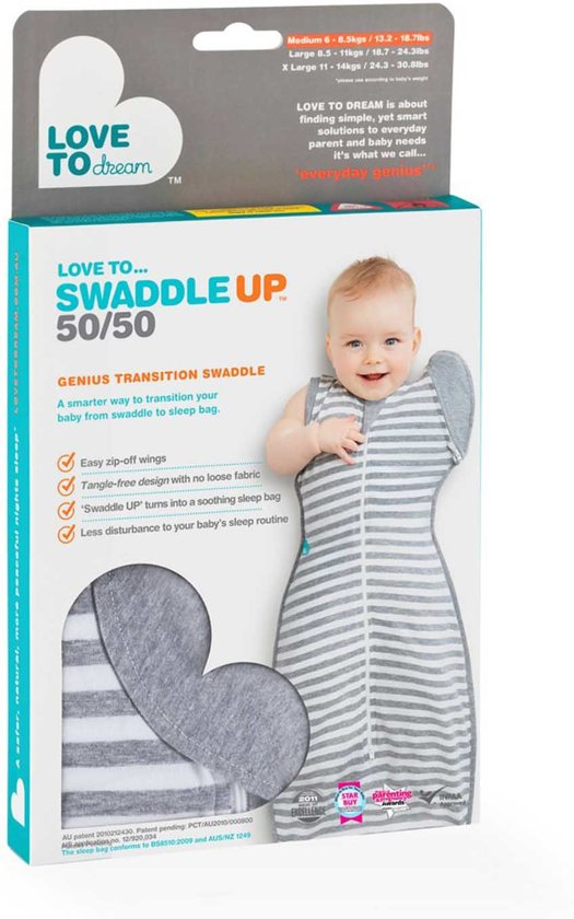Love to dream - Swaddle UP 50/50 stage 2 grijs large