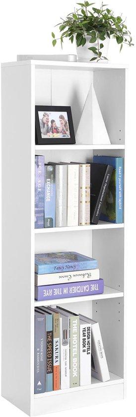 Songmics Houten Boekenkast Met Verstelbare Planken Met 4 Vakken Boeken Kast Opbergrek Boekenrek Afm 40 X 24 X 1215 Cm Kleur Wit