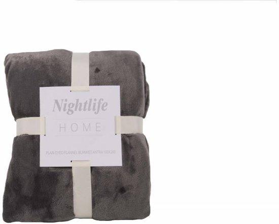Nightlife Home Plaid Fleece 150x200cm - Lycra/elastaan - Grijs