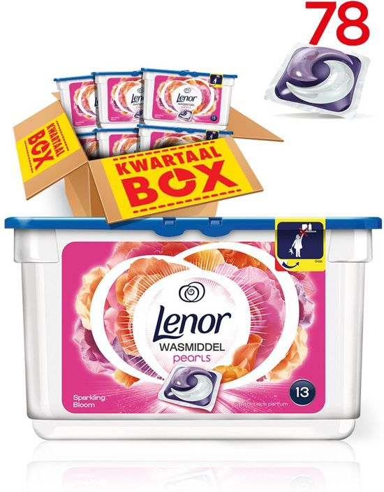 Lenor PODS Pearls Sparkling Bloom - Kwartaalbox 6 x 13 (78) Wasbeurten - Wasmiddel