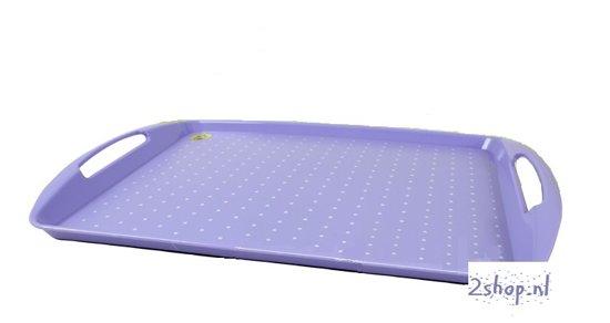 Dienblad met handgrepen violet met print  HxLxB 3 x 44 x 30,5 cm