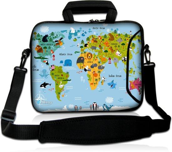 Laptoptas 17,3 inch wereldkaart dieren - Sleevy