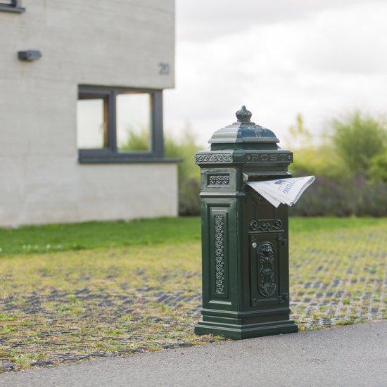 relaxdays Engelse staande brievenbus, Kolombrievenbus antiek design staand Alu groen