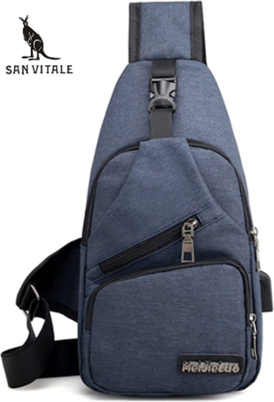 5bdbd8e4368 Slingbag, Schoudertas, Dagpak, Daypack, Rugzak, Crossbody bag, Blauw