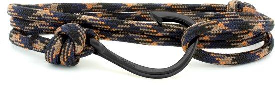 Hooked Concepts - Paracord wikkelarmband - Multicolor - Haak mat zwart - HBR52 (Lengte: verstelbaar)