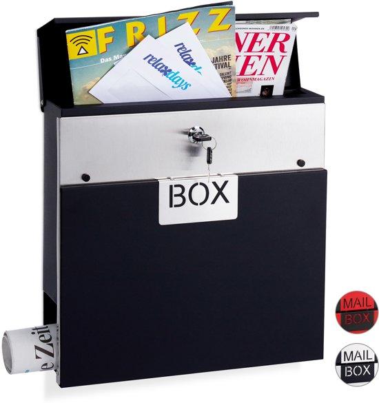 relaxdays brievenbus edelstaal - afsluitbaar - krantenrol - A4 formaat - wandbrievenbus zilver