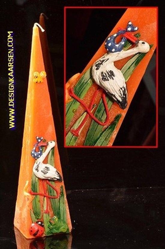 Geboortekaars Ooievaar, piramide, ORANJE, H: 30 cm