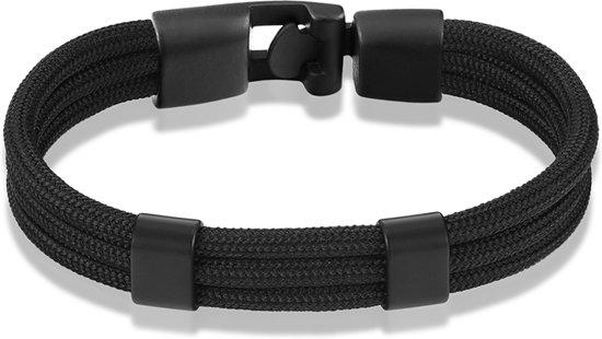 Montebello Armband Surf Black - Unisex - Touw - Metaal - 20.5cm