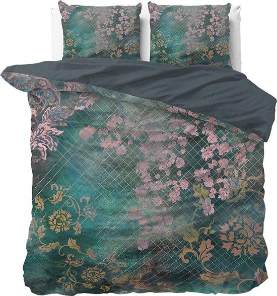 Dreamhouse Tiran Flower - Dekbedovertrekset - Tweepersoons - 200x200/220 + 2 kussenslopen 60x70 - Groen