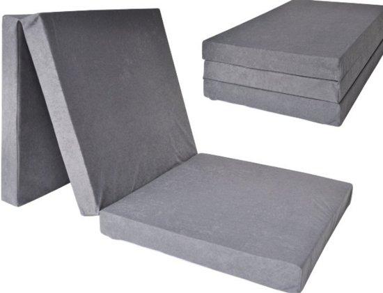Logeermatras - grijs - camping matras - reismatras - opvouwbaar matras - 195 x 80 x 10