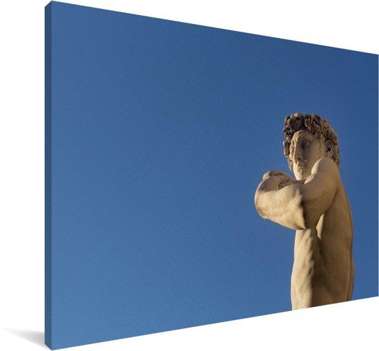 Blauwe lucht boven het David beeld in Florence Canvas 140x90 cm - Foto print op Canvas schilderij (Wanddecoratie woonkamer / slaapkamer)