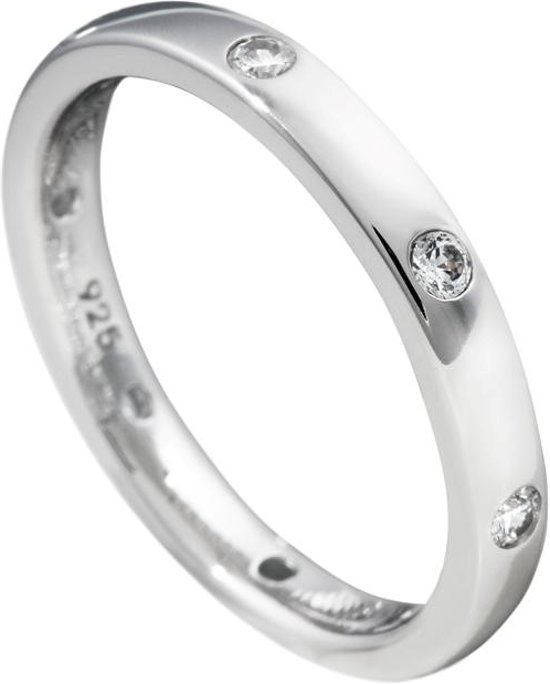 e1c42295625 Diamonfire - Zilveren ring met steen Maat 16.0 - Gladde band met 6x zirkonia