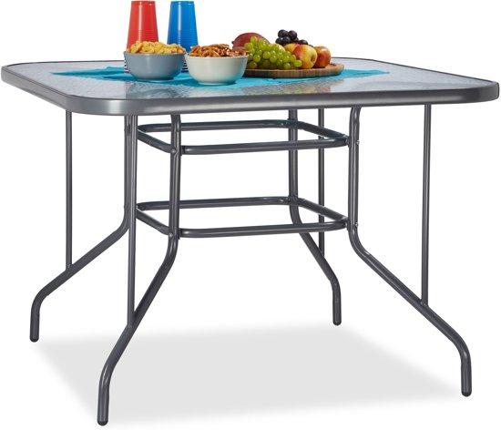Aluminium Tuintafel Met Glazen Plaat.Relaxdays Tuintafel Glas Struk Grote Glazen Tafel Eettafel Buiten Hbd 70 X 100 X 100