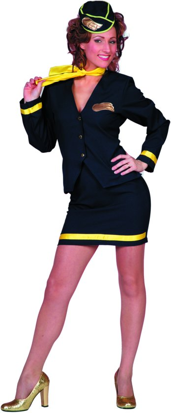 Stewardess outfit blauw 4 delig Maat 46