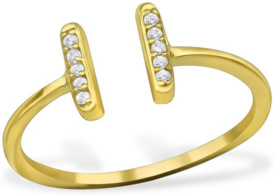 goud kleurige Double Bar Ring with Cubic Zirconia | 925 Sterling Silver