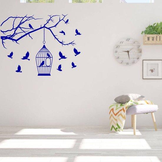 Muursticker Vogels Met Huisje -  Donkerblauw -  60 x 47 cm  - Muursticker4Sale