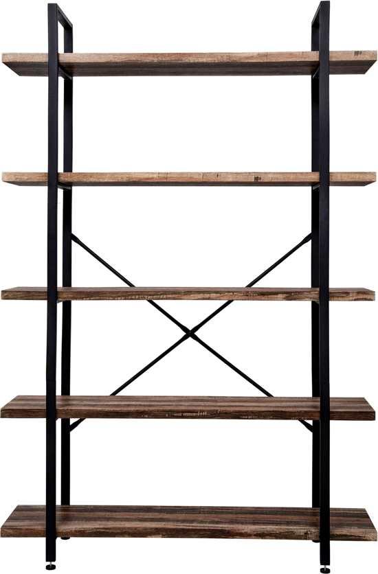 Wandkast Zwart Metaal Hout.Vdd Wandkast Industrieel Metaal Hout Zwart