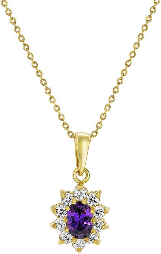 Lucardi - Nouveau Vintage - Goldplated ketting&hanger amethyst met zirkonia
