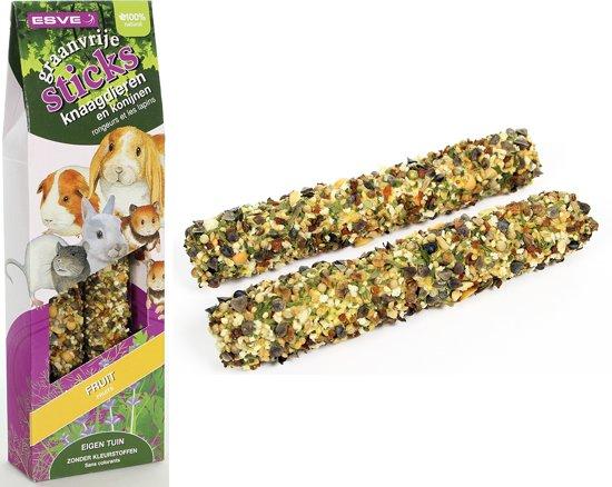 ESVE Graanvrije Sticks - Fruit - Knaagdieren en Konijnen - 2 x 135 gr
