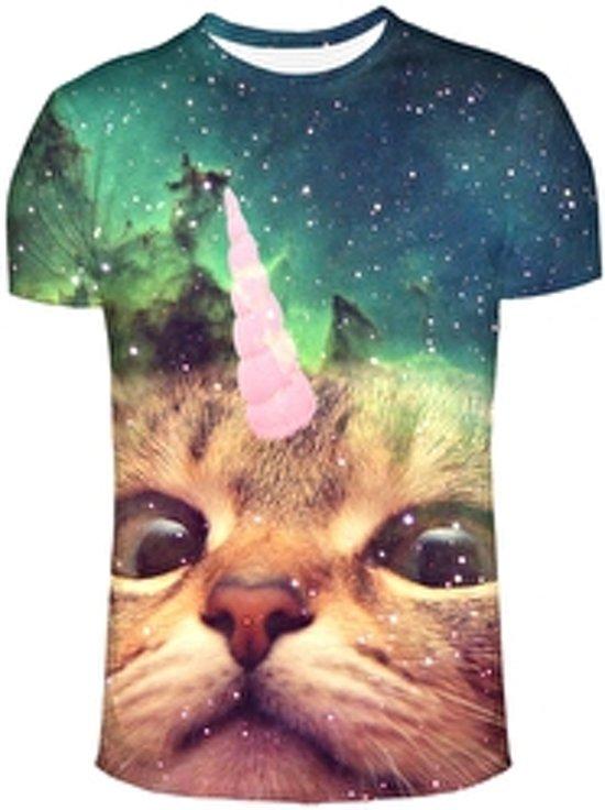 Unicorn cat festival shirt Maat M Crew neck