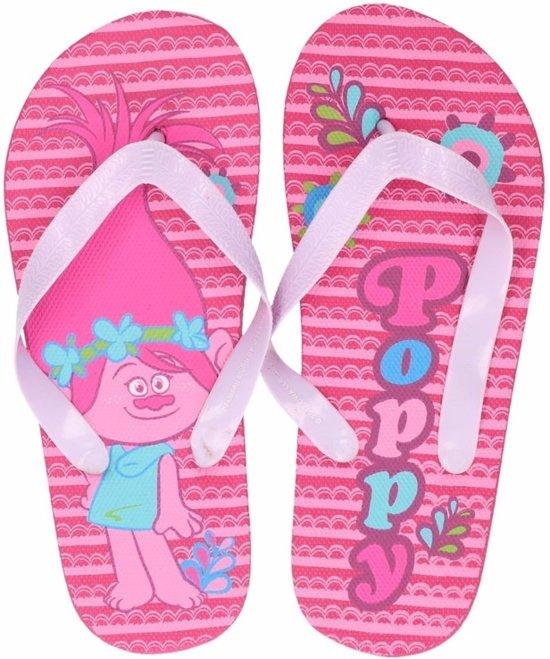 Trolls teenslippers roze Poppy voor meisjes 33/34 (7-10 jaar)