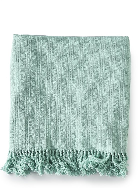 Riviera Maison Summer Jacquard Throw - Plaid - 180x130 cm  - Mint