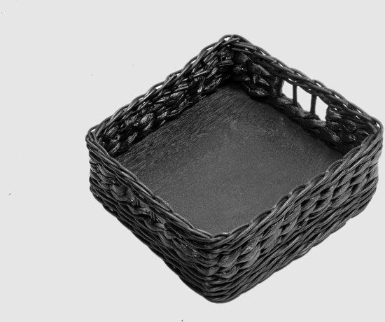 Maison Péderrey Dienblad-Serveerblad Riet-Hout Zwart-Grijs - 25 cm x 25 cm