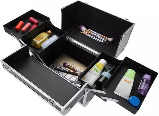 Make Up Koffer - Uitklapbare Make Up Case Met 5 Opbergbakken | Make Up Koffer met Slot