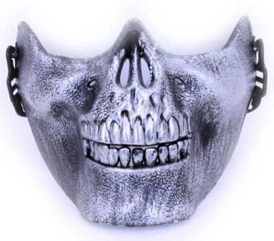 Halloween Bouwplaten.Halloween Half Gezichtsmasker Zilveren Schedel