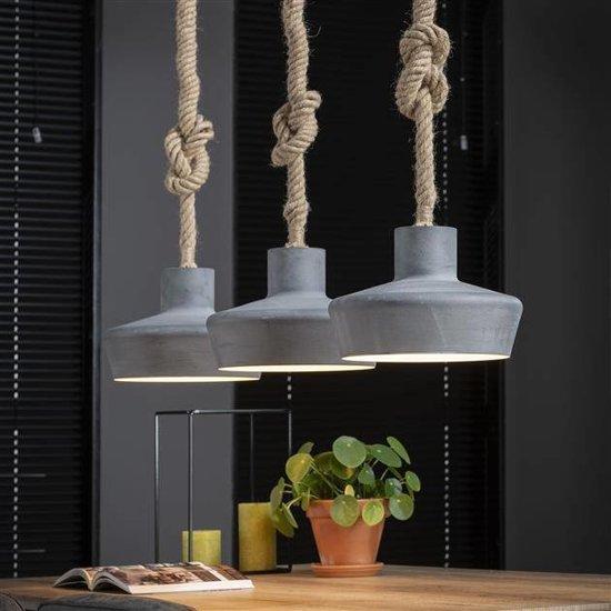 Extreem bol.com | Industriële hanglamp Brett 3-lichts touw &DD75
