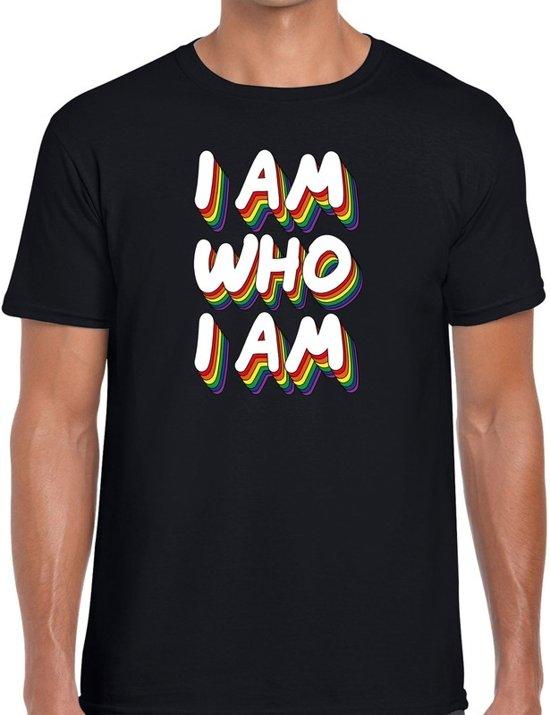 I am who i am - gaypride t-shirt zwart 3D regenboog tekst voor heren - Gay pride kleding 2XL