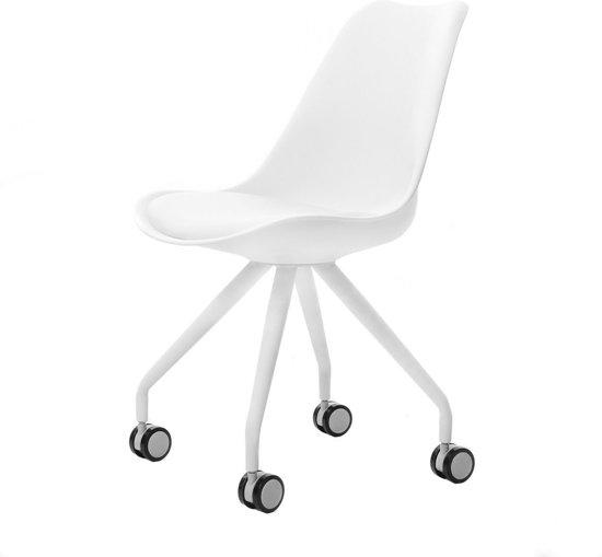 Silla bureaustoel - Witte zitting - Wit onderstel
