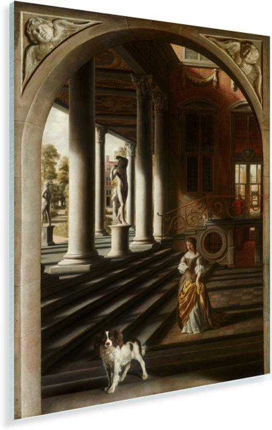 Perspectief met een brieflezende vrouw - Schilderij van Samuel van Hoogstraten Plexiglas 60x80 cm - Foto print op Glas (Plexiglas wanddecoratie)