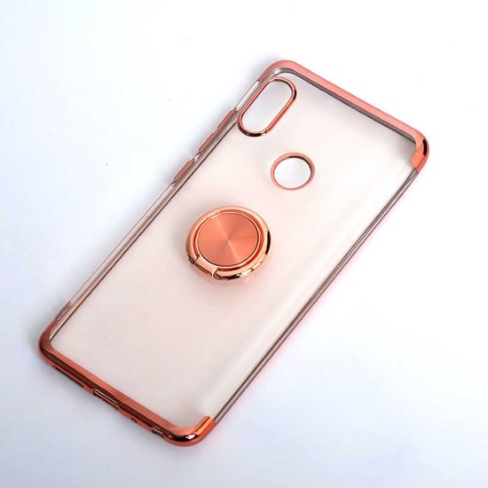 Teleplus Xiaomi Redmi Note 6 Pro Case Silicone Rose Gold with Laser Ring hoesje