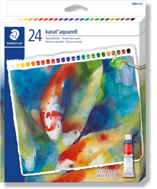 karat aquarel verf - set 24 tubes 12 ml