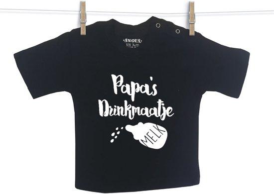 Baby Shirt Zwart korte mouw Snoes Papa's Drinkmaatje 74/80