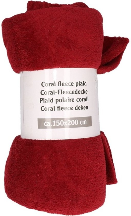 Rode Fleece Deken.Bordeaux Rode Fleece Deken 150 X 200 Cm Plaid