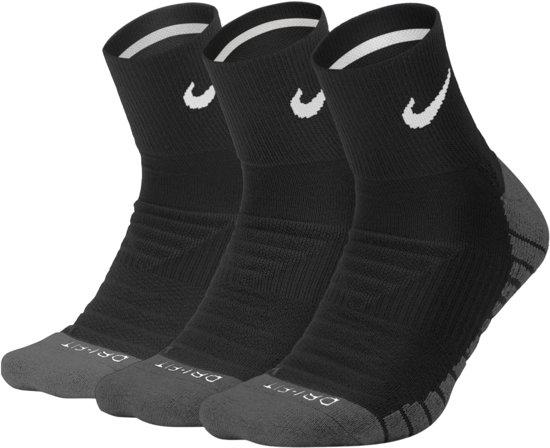 Nike Dry Cushioned Quarter Sportsokken  Hardloopsokken - Maat 34-38 - Unisex - zwart/grijs/wit