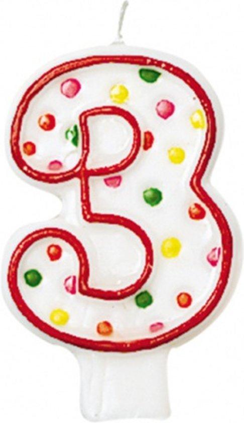 Amscan Verjaardagskaars 3 - Polka Dots 7,6 Cm Rood/wit