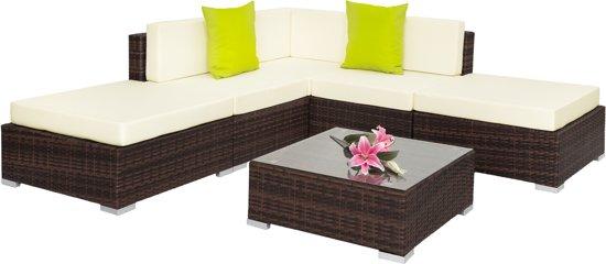 Prachtige wicker loungeset met aluminium frame mixed bruin 401812