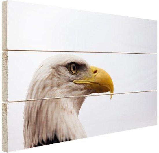 Portretfoto adelaar Hout 60x40 cm - Foto print op Hout (Wanddecoratie)