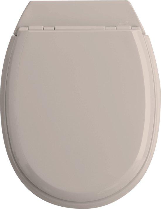 Allibert wc-bril ATLAS  - geperst hout - afklikbaar - met regelplaat - licht taupe gelakt