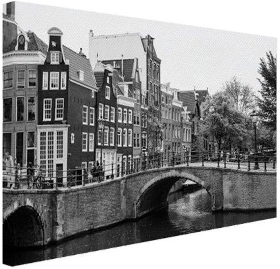 Amsterdam zwart-wit Canvas 120x80 cm - Foto print op Canvas schilderij (Wanddecoratie)