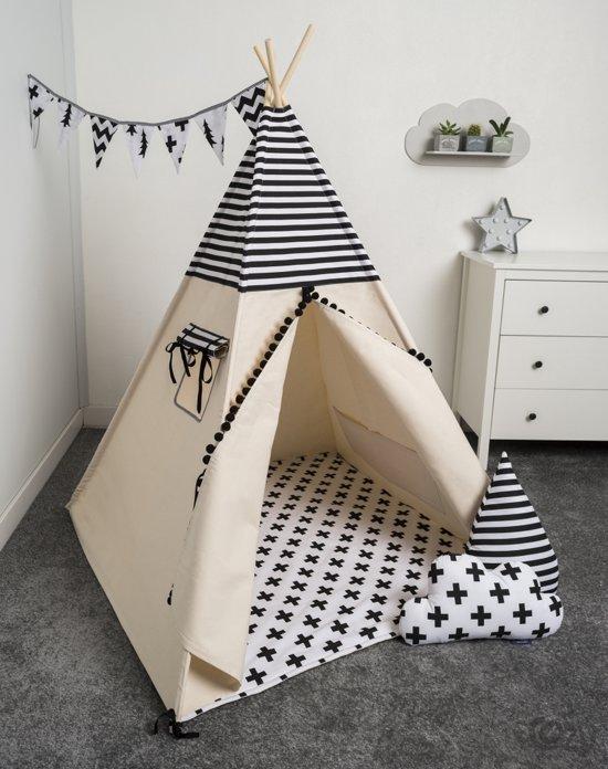 fujl tipi tent speeltent wigwam kinder tipi set black white inclusief as. Black Bedroom Furniture Sets. Home Design Ideas