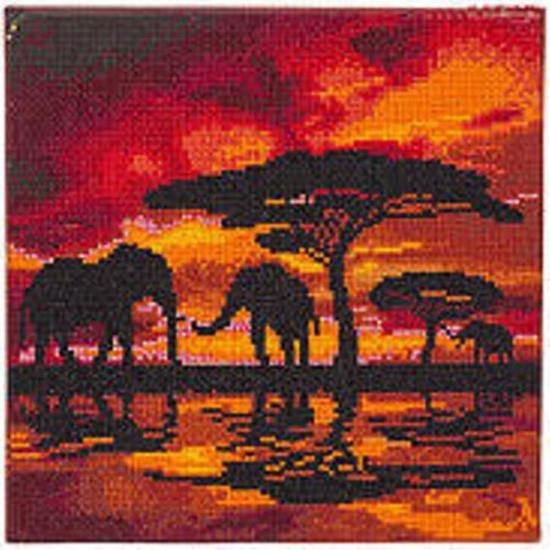 Diamond Painting Crystal Art Kit ®Elephant Silhouette, 30 x30 cm, Partial Painting